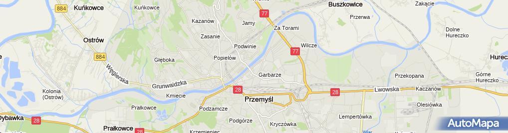 Zdjęcie satelitarne A Nykiel i G Strzałkowski Hurtownia Art Przemysłowych Kajman
