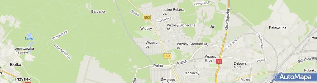 Zdjęcie satelitarne A Przedsiębiorstwo Wielobranżowe Terpol B Przedsiębiorstwo Wielobranżowe Terpol