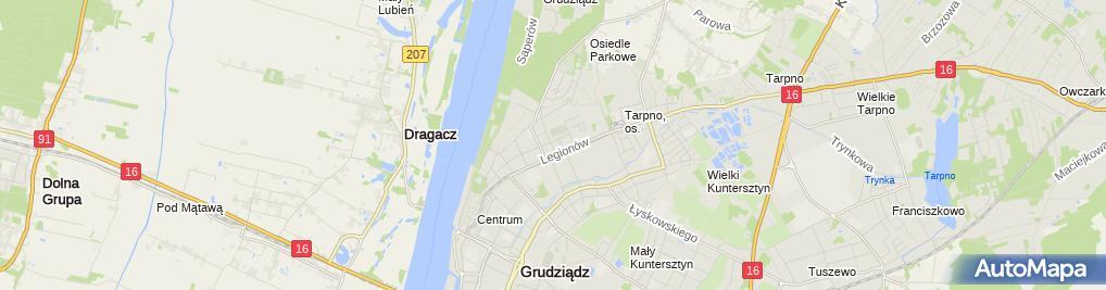 Zdjęcie satelitarne Działalność Taksówek Osobowych Taxi Mieczysław Lewandowski