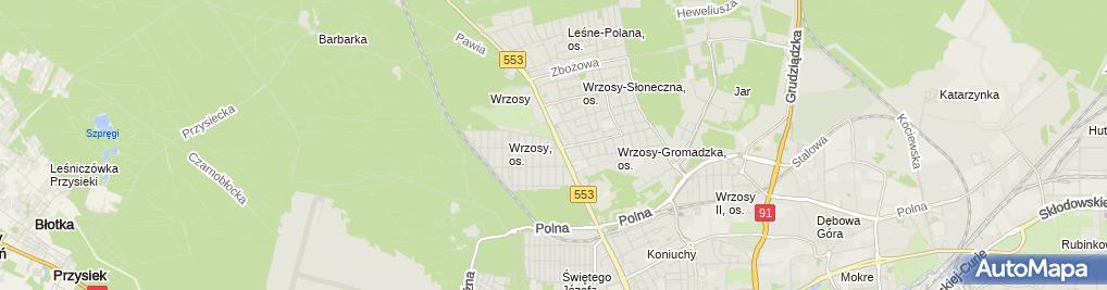 Zdjęcie satelitarne Firma Handlowa Wrzos