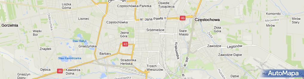 Zdjęcie satelitarne Hala Sportowa Częstochowa
