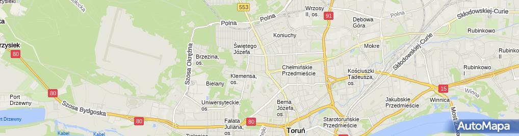 Zdjęcie satelitarne Hanna Kopczyńska-Wiewiórska Hankop Nadzór i Projektowanie Sieci i Instalacji Sanitarnych