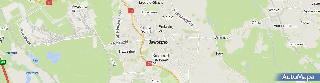 Zdjęcie satelitarne Jaworznickie Stowarzyszenie Kupców i Drobnego Handlu