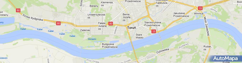 Zdjęcie satelitarne Kancelaria Komornika Sądowego przy Sądzie Rejonowym w Toruniu Sobecki Tomasz