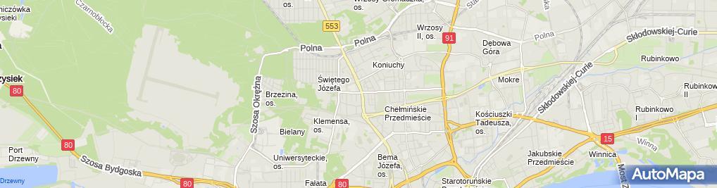 Zdjęcie satelitarne Kujawsko Pomorskie Stowarzyszenie Szkół Kierowców Nauka Jazdy