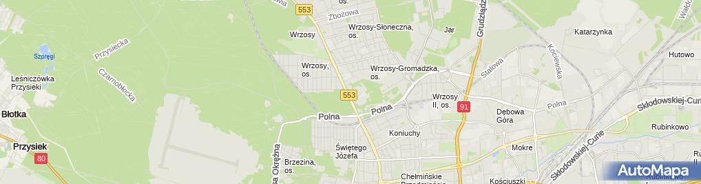 Zdjęcie satelitarne Kurkowe Bractwo Strzeleckie w Toruniu