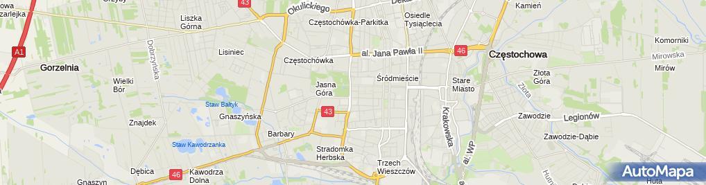 Zdjęcie satelitarne Miastoprojekt Częstochowa