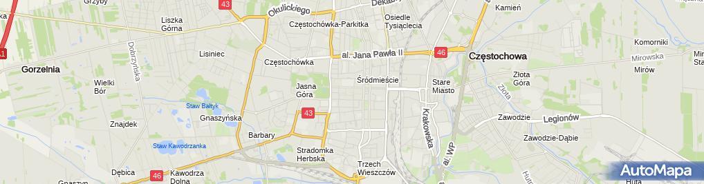 Zdjęcie satelitarne Miejski Ośrodek Pomocy Społecznej w Częstochowie