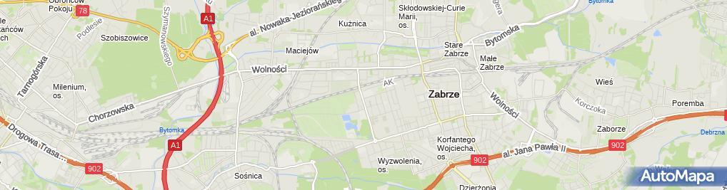 Zdjęcie satelitarne Niepubliczna Szkoła Ogólnokształcąca Dla Młodzieży i Dorosłych w Zabrzu