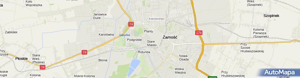 Zdjęcie satelitarne Państwowa Wyższa Szkoła Zawodowa im Szymona Szymonowica w Zamościu