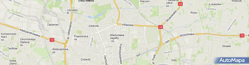 Zdjęcie satelitarne Piotr Jatczak Sartor Przedsiębiorstwo Produkcyjno-Usługowe Łódź Franciszkańska 139/145 M 6