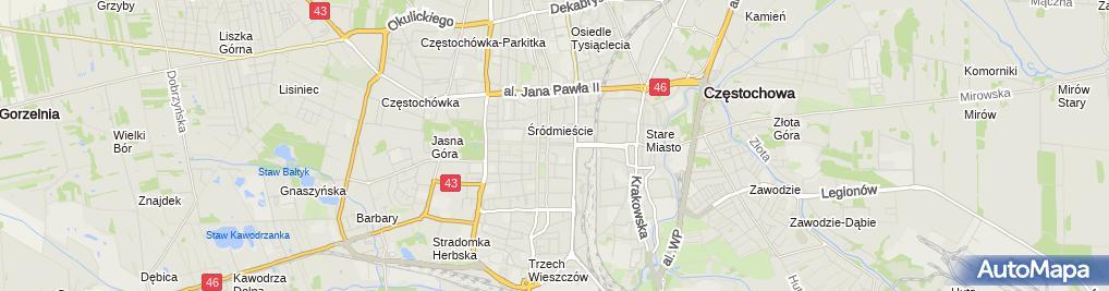 Zdjęcie satelitarne Polskie Towarzystwo Turystyczno Krajoznawcze Oddział Miejski im DR Władysława Biegańskiego w Częstochowie