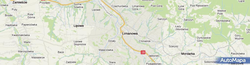Zdjęcie satelitarne Polskie Towarzystwo Turystyczno Krajoznawcze Oddział Ziemi Limanowskiej w Limanowej