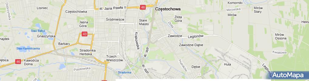 Zdjęcie satelitarne Powiatowa Poradnia Psychologiczno Pedagogiczna w Częstochowie