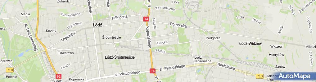 Zdjęcie satelitarne Pracownicza Spółdzielnia Budowlano Mieszkaniowa Pokój w Łodzi