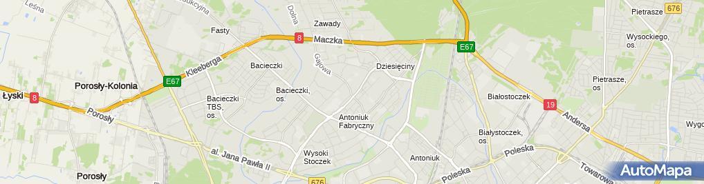 Zdjęcie satelitarne Przedsiębiorstwo Wielobranżowe Lerente Białystok