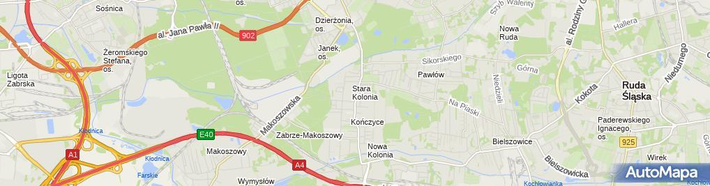 Zdjęcie satelitarne Śląskie Towarz Kompensacyjne Nowakowski M Baczyński M Błachowiak M