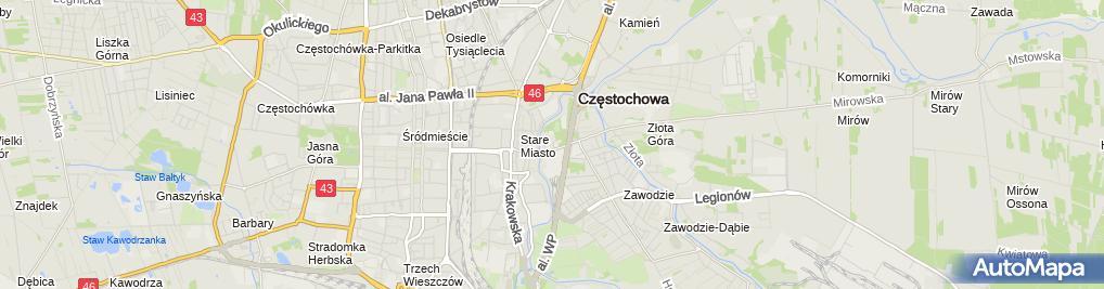 Zdjęcie satelitarne Stowarzyszenie Szpitala im DR L Rydygiera w Częstochowie Postęp w Medycynie