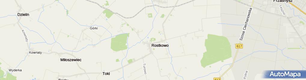 Zdjęcie satelitarne Szkoła Podstawowa im św Stanisława Kostki w Rostkowie