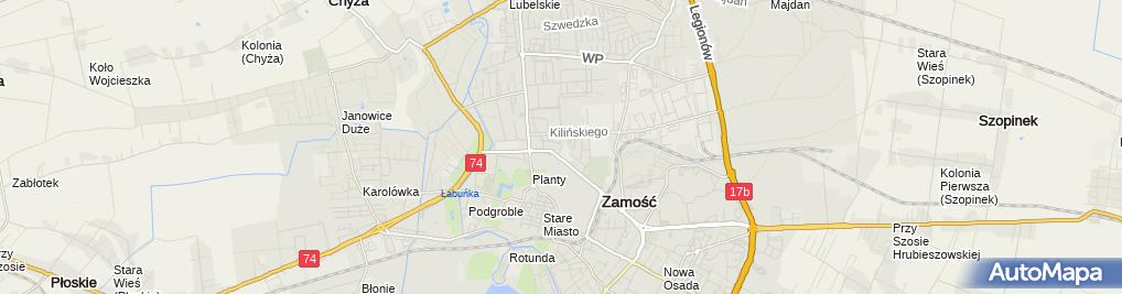 Zdjęcie satelitarne Teresa Budzyńska - Firma Pogrzebowa Wrzos , Teresa Budzyńska - Przedsiębiorstwo Produkcyjno - Handlowo - Usługowe Stolmex w Zamościu