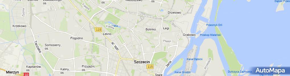 Zdjęcie satelitarne V Liceum Ogólnokształcące im A Asnyka w Szczecinie