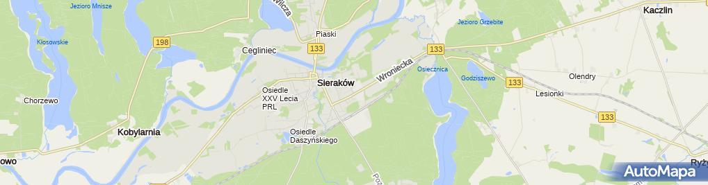 Zdjęcie satelitarne Wspólnota Mieszkaniowa Nieruchomości Sieraków ul.Wroniecka 25A