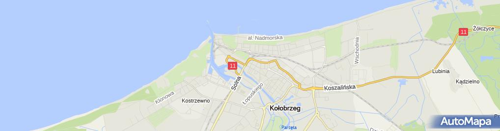 Zdjęcie satelitarne Wspólnota Mieszkaniowa przy ul.1-Go Maja 35B w Kołobrzegu