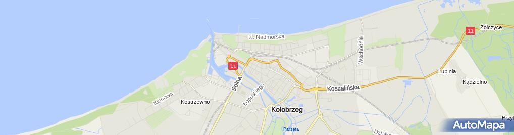 Zdjęcie satelitarne Wspólnota Mieszkaniowa przy ul.Wojska Polskiego 7, 7A, 7B w Kołobrzegu