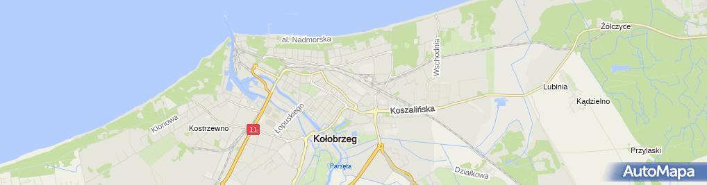 Zdjęcie satelitarne Wspólnota Mieszkaniowa przy ul.Zaplecznej 7 E, F, G, H, J w Kołobrzegu
