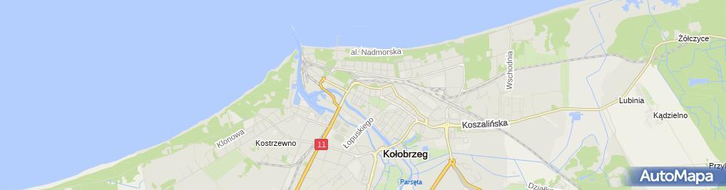 Zdjęcie satelitarne Wspólnota Mieszkaniowa przy ul.Zwycięzców 13, Źródlana 1 A w Kołobrzegu