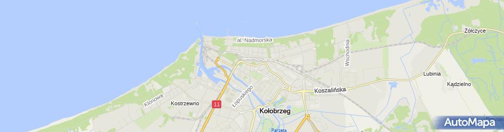 Zdjęcie satelitarne Wspólnota Mieszkaniowa przy Ulicy Mazowieckiej 24 D, E w Kołobrzegu