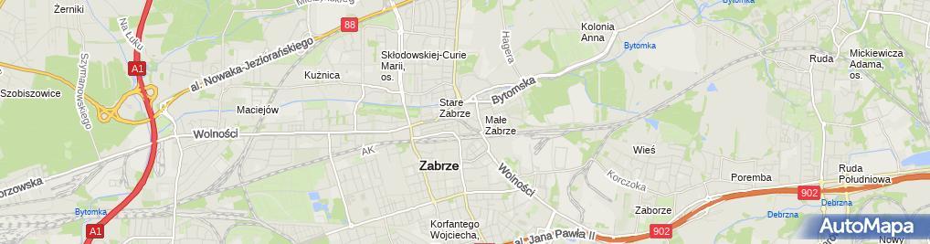 Zdjęcie satelitarne Zabrzańskie Centrum Douczania i Edukacji