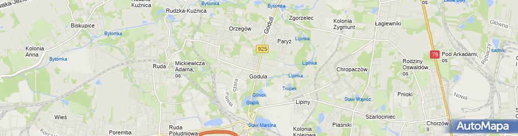 Zdjęcie satelitarne Związek Górnośląski Koło Godula Orzegów