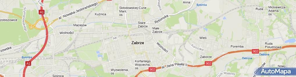 Zdjęcie satelitarne Związek Zawodowy Pracowników Powszechnej Kasy Oszczędności Banku Polskiego Spółki Akcyjnej i Oddział w Zabrzu
