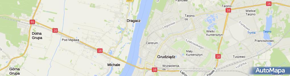 Zdjęcie satelitarne Związek Zawodowy Pracowników Samorządowych Samorządowiec Urzędu Miejskiego w Grudziądzu