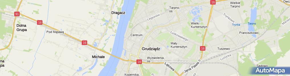 Zdjęcie satelitarne KM PSP Grudziądz