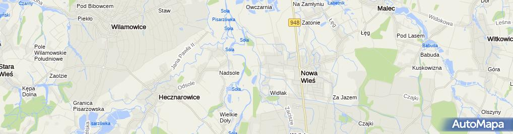 Zdjęcie satelitarne Strzelnica LOK Kęty / Nowa Wieś