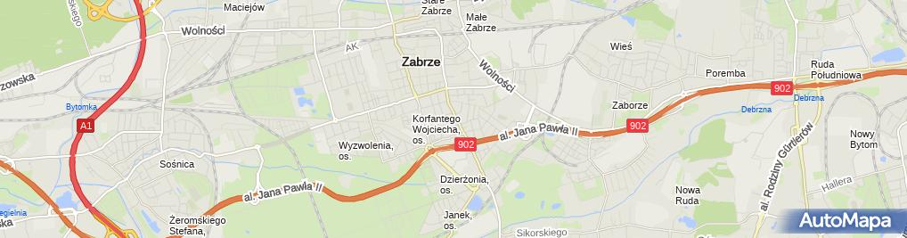 Zdjęcie satelitarne Centrum Kształcenia Zawodowego i Ustawicznego Woj. Śląskiego