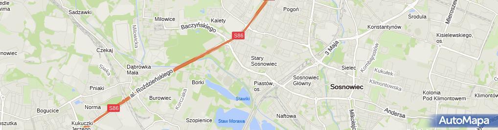 Zdjęcie satelitarne Szkoła Podstawowa Nr 27 Im. Stanisława Wyspiańskiego W Sosnowcu