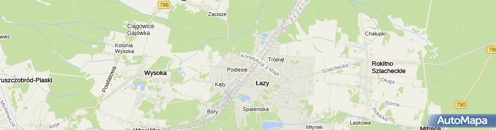Zdjęcie satelitarne Szkoła Podstawowa Nr 3 W Łazach