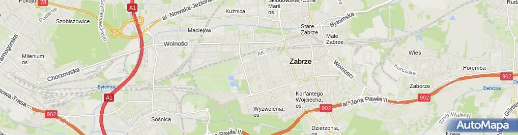 Zdjęcie satelitarne Szkoła Podstawowa Nr 38 Specjalna W Zabrzu