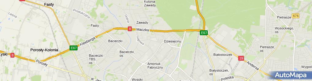 Zdjęcie satelitarne Szkoła Podstawowa Nr 47 Im. Jana Klemensa Branickiego W Białymstoku