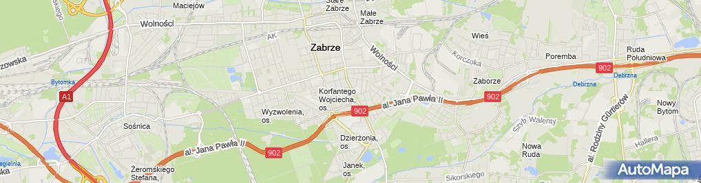 Zdjęcie satelitarne Szkoła Policealna Województwa Śląskiego Dla Dorosłych