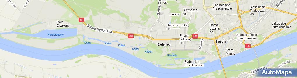 Zdjęcie satelitarne GPZ 110/15kV Toruń Zachód