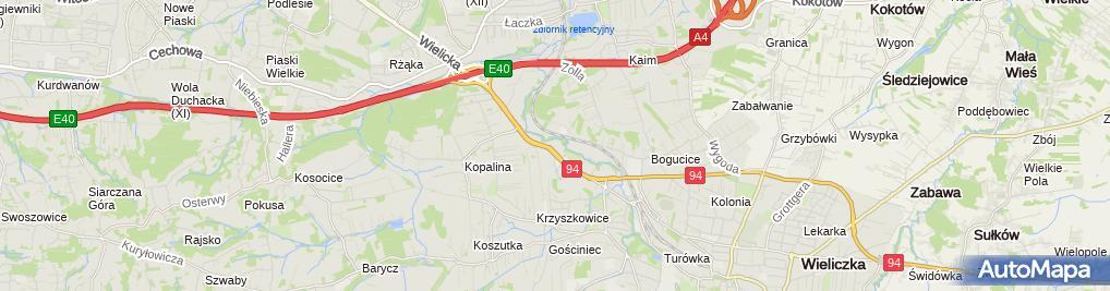 Zdjęcie satelitarne GDDKiA o. Kraków, Wydział Technologii - laboratorium drogowe