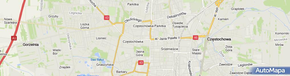 """Zdjęcie satelitarne Regionalny Ośrodek Doskonalenia Nauczycieli """"WOM"""" w Częstochowie"""