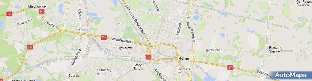 Zdjęcie satelitarne Bytom - Róg ul. Piłsudskiego i ul. Piekarskiej