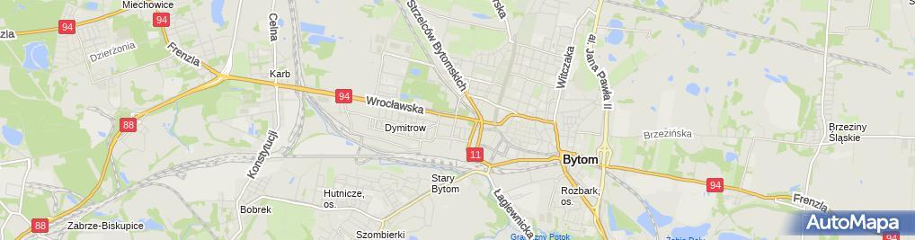 Zdjęcie satelitarne Bytom - Ul. Wrocławska - Willa 01