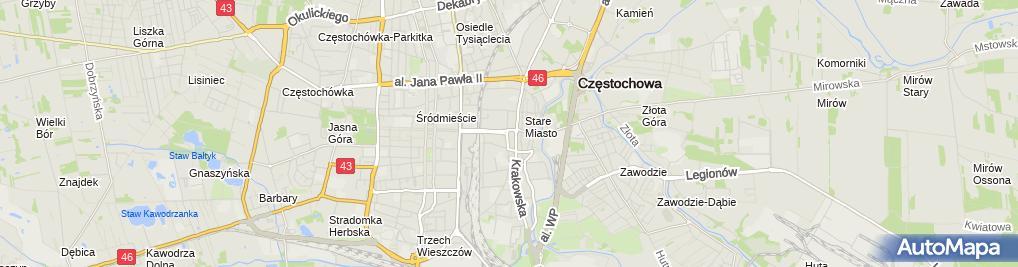 Zdjęcie satelitarne Częstochowa - Plac Daszyńskiego 1