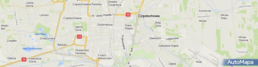 Zdjęcie satelitarne Częstochowa Warta pomnik 1